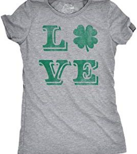 Crazy Dog Tshirts : Womens Love Lucky Clover Vintage Cute Irish Shamrock